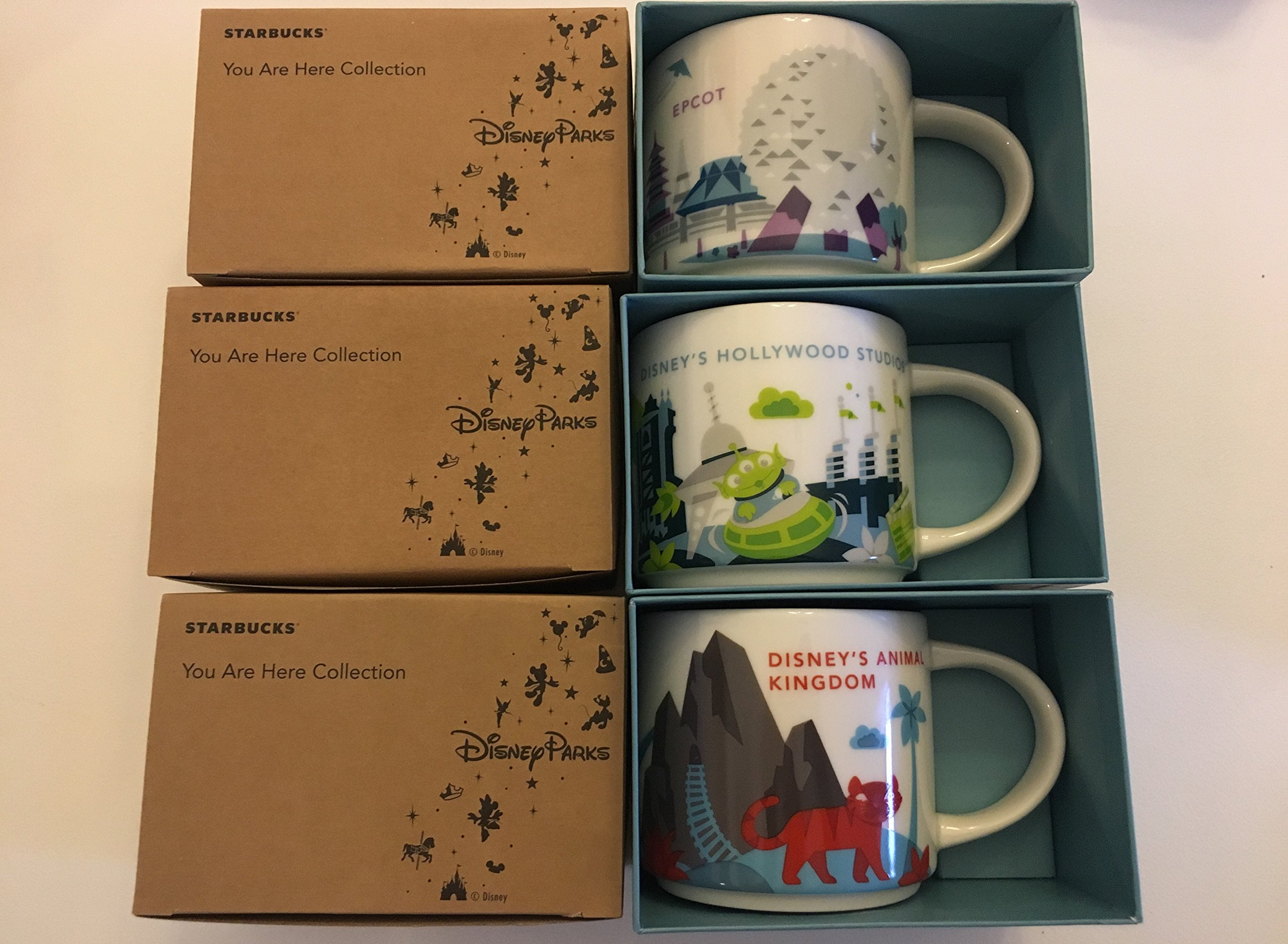 3 Mug Set: Disney's Hollywood Studios +Animal Kingdom+ Epcot V2 You Are Here 14 Oz. Starbucks Mugs W/ Bonus Blank Starbucks Card