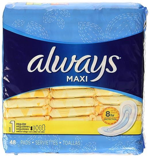 Always Maxi almohadillas sin perfume sin alas, regular, 48 unidades: Amazon.es: Industria, empresas y ciencia