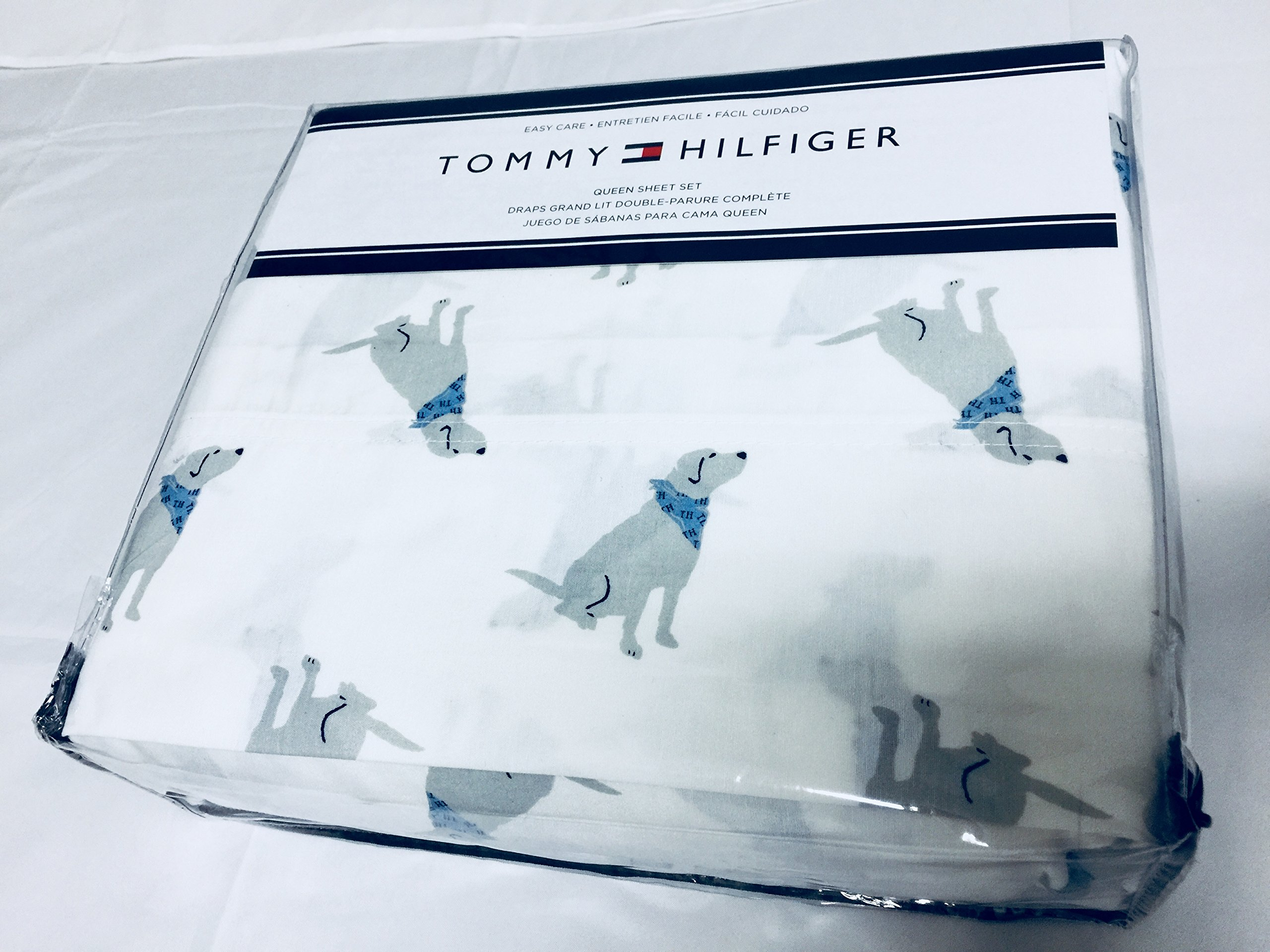 Tommy Hilfiger Queen Sheet Set Dogs with Blue Scarf Cotton Flannel 4 Pc Blue White Bedding Animal Print