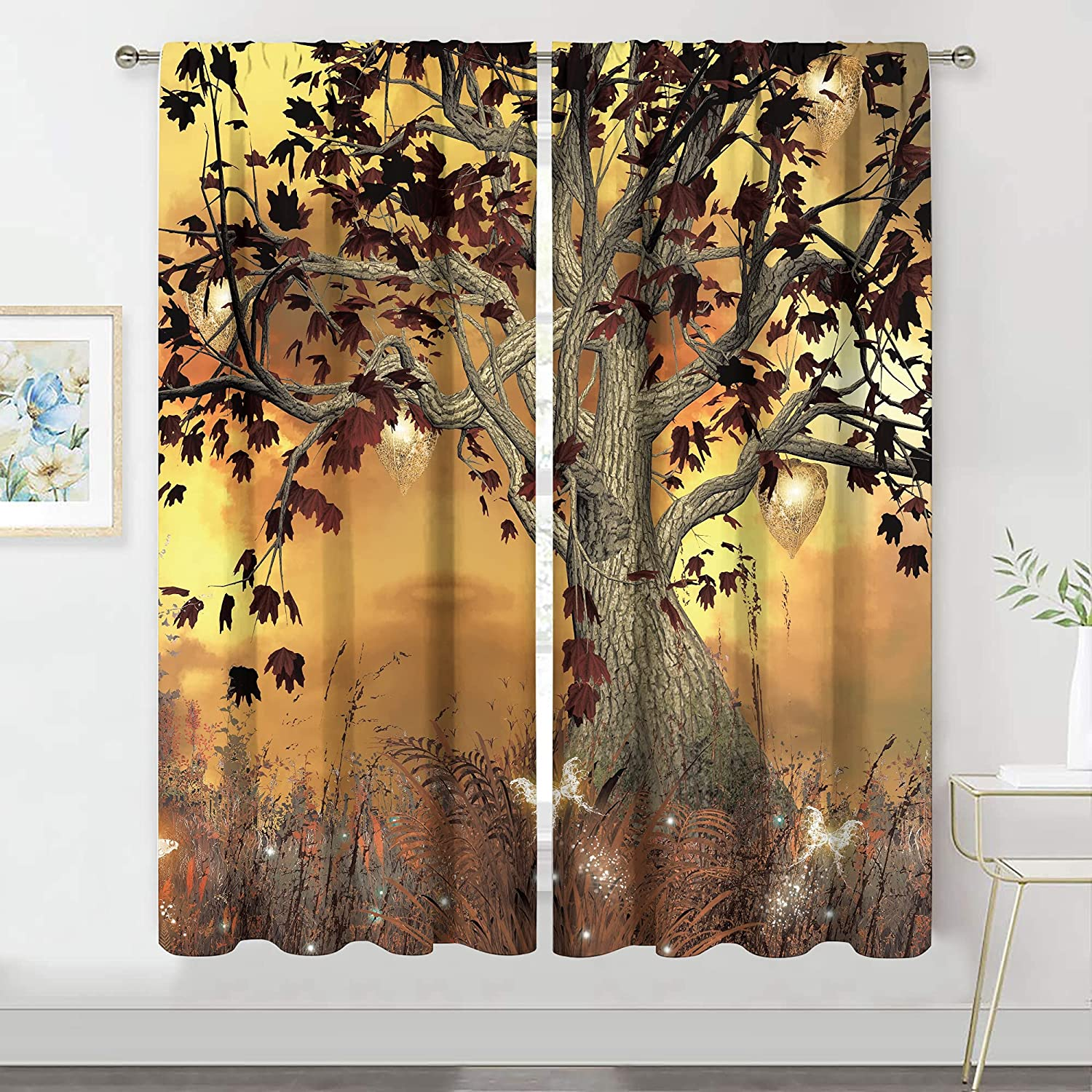 MESHELLY Yellow Fall Curtains 42 (W) x 63(H) Inch Rod Pocket Mystical Tree Decor Rustic Floral Shrub Yellow Brown Art Printed Living Room Bedroom Window Drapes Treatment Fabric 2 Panels