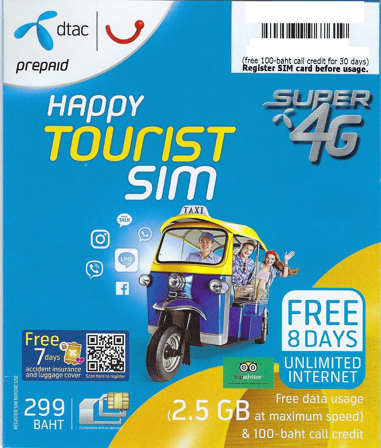 Amazon.com: Tarjeta SIM de Prepago Tailandia dtac Happy ...