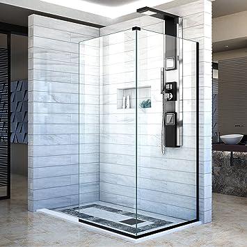 DreamLine línea dos adyacentes mamparas de ducha sin marco 34 en. W x 72 en. H cada, entrada abierta diseño en negro satinado, shdr-3234343 – 09: Amazon.es: Bricolaje y herramientas