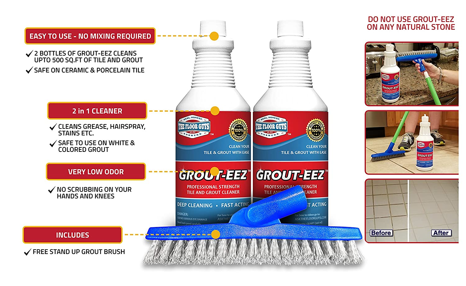 Amazon it just works grout eez super heavy duty tile grout grout eez super heavy duty tile grout cleaner and whitener quickly destroys dirt grime safe for all grout easy to use 2 pack with free stand up dailygadgetfo Gallery