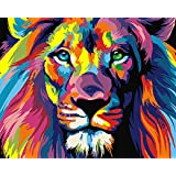 Paint by Numbers-DIY Digital Canvas Oil Painting Adults Kids Paint by Number Kits Home Decorations-Colorful Lions 16…