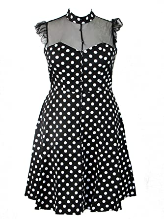 Plus Size Black and White Polka Dot Retro 50\'s Lace Sweetheart Doll ...