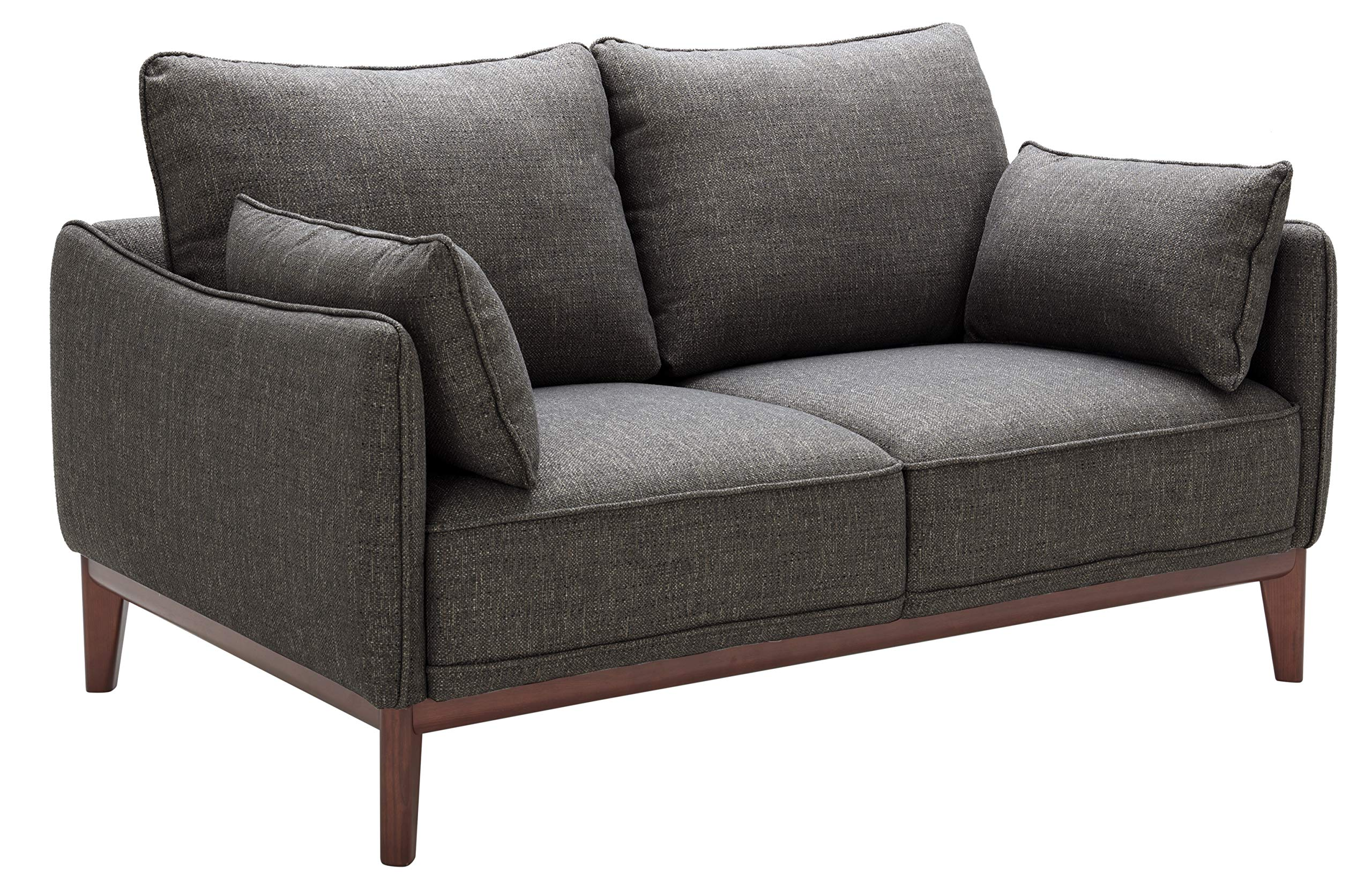 Stone & Beam Hillman Mid-Century Loveseat with Tapered Legs and Removable Cushions, 62''W, Fog by Stone & Beam