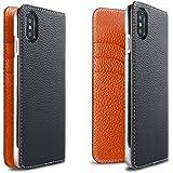 BONAVENTURA ボナベンチュラ iPhone X ケース German Leather Diary Case [iPhone X | ネイビー×オレンジ]