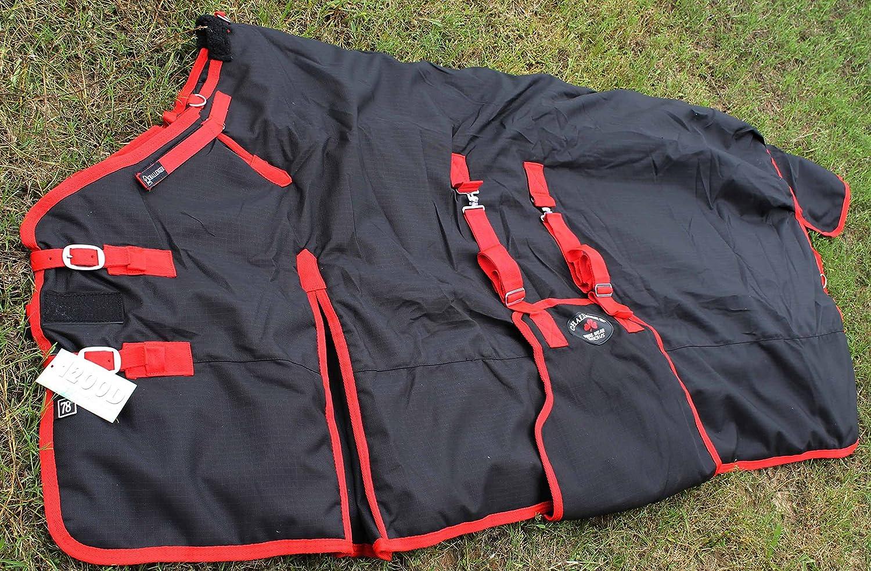 CHALLENGER 80 1200D Turnout Waterproof Horse Tough Winter Blanket Heavy Belly Band Black 564G Challenger Horsewear