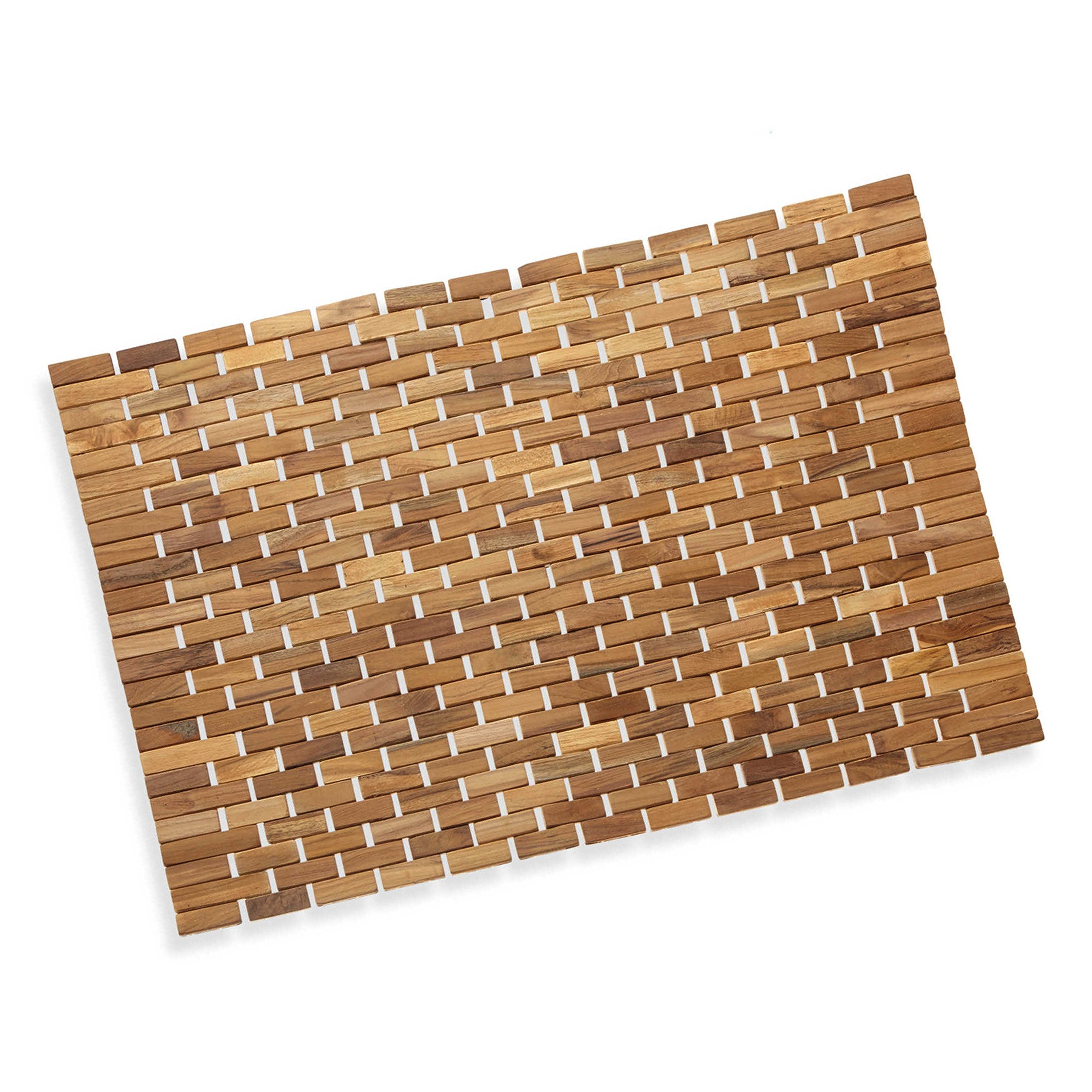 Luxurious Bamboo Bath Mat For Shower, Bath, Spa Or Sauna 27x19 Large By Precision Works by Precision Works