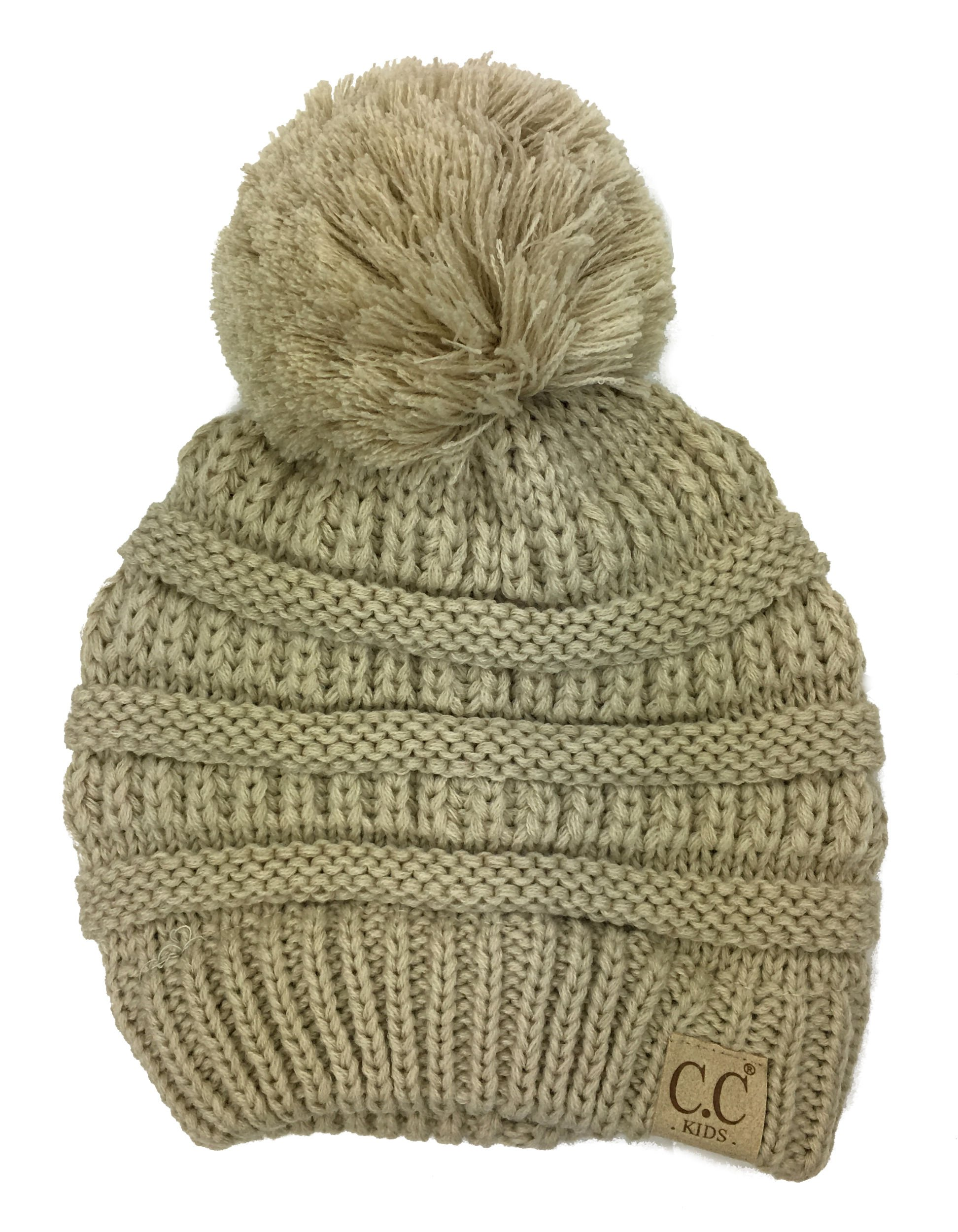 Chunky Thick Stretchy Knit Slouch Pom Pom Beanie Cap Hat for Kids Ages 2-7 (Beige)