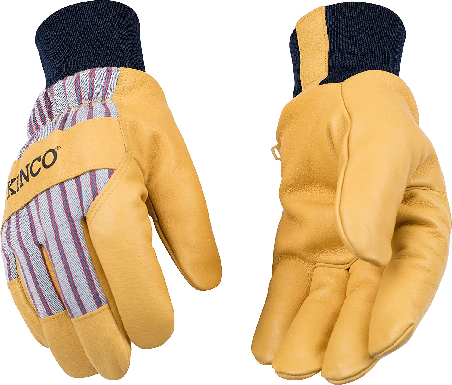 KINCO 1927KW-M Men's Lined Grain Pigskin Gloves, Heat Keep Lining, Knit Wrist, Medium, Golden