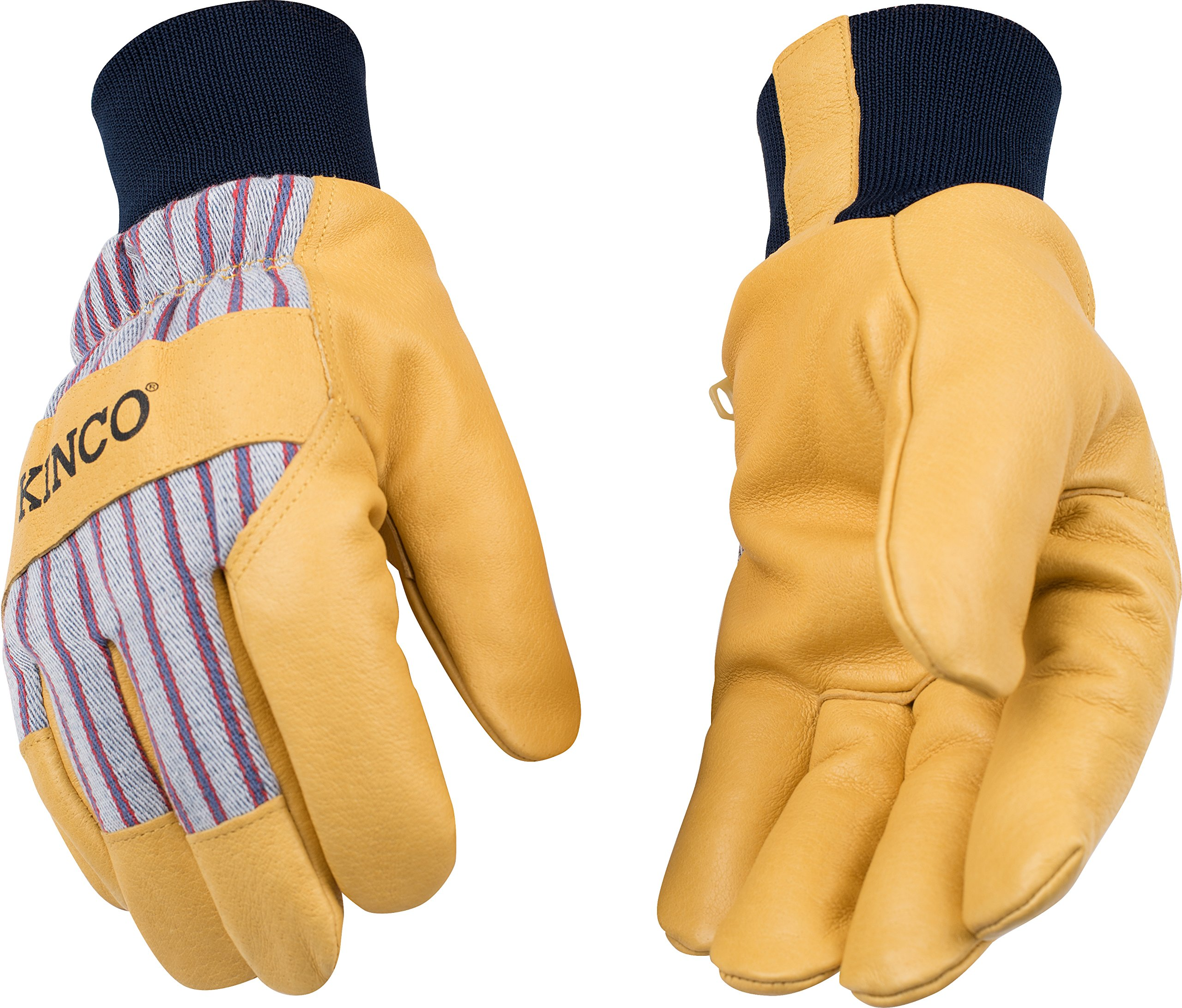 Kinco 1927KW Lined Grain Pigskin Leather Glove with Knit Wrist, Work, Large, Palomino (Pack of 6 Pairs)