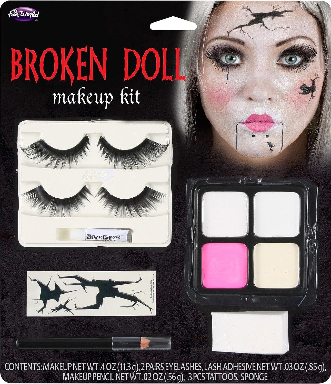 Broken Doll Halloween Makeup Kit With Eyelashes Tattoos, Paint, Sponge & Pencil: Amazon.es: Juguetes y juegos