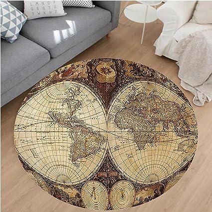 Amazoncom Nalahome Modern Flannel Microfiber NonSlip Machine - Old world map rug