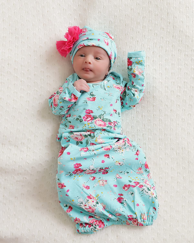 Amazon.com: PoshPeanut Newborn Girl\'s Floral Infant Gown Layette Set ...