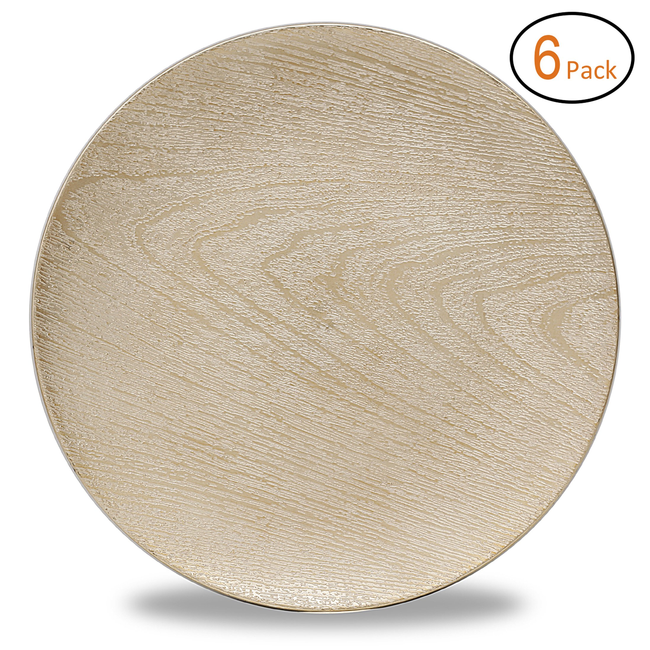Fantastic:)™ Round 13Inch Plastic Charger Plates with Eletroplating Finish (6, Wood Gold)
