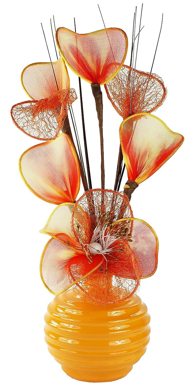 Flourish 791995-813 Mini Swirl - Coppia di vasi con Fiori Artificiali, 32 cm, Orange
