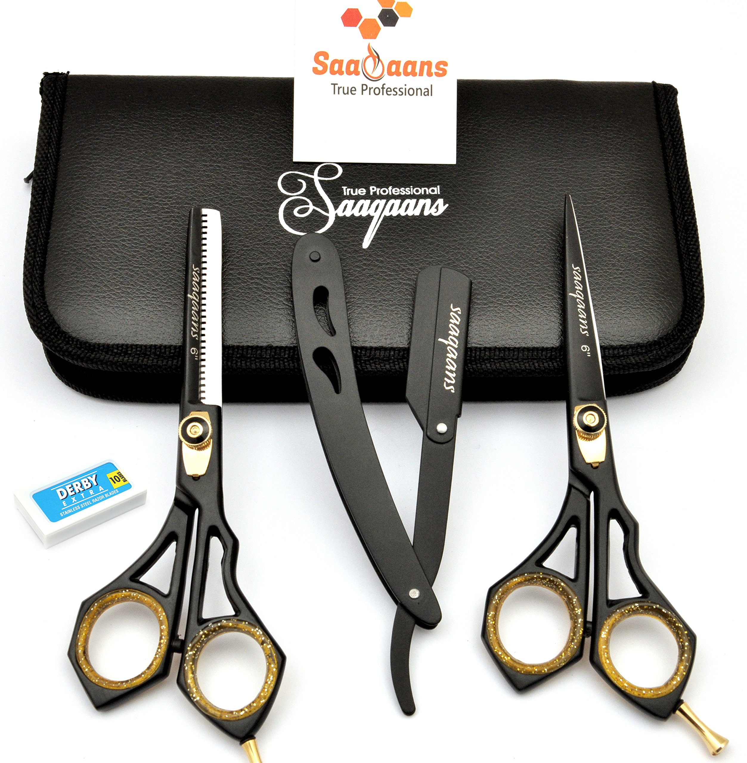 Saaqaans SQKIT Professional Hairdressing Scissors Set - Package includes Barber Scissor, Thinning Shear, Straight Razor, 10 x Derby Double Edge Blades and Hair Comb in Stylish Black Scissors Case by Saaqaans (Image #8)