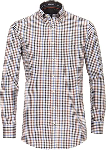 Casa Moda 483087900 Comfort Fit - Camisa de Franela de Manga Larga para Hombre con Cuello desplegable