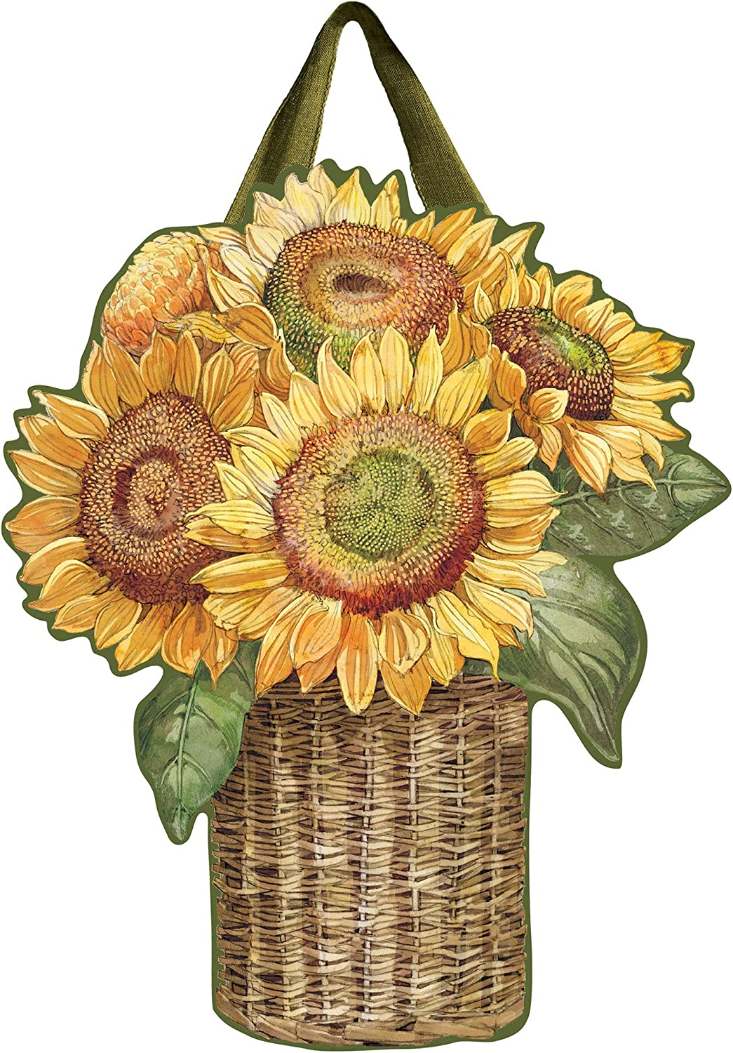 Studio M Outdoor-Safe Front Door Décor, 18.25 x 22.25-Inches, Farmhouse Sunflower