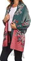 Pashmina/scialle/vestaglietta/stola con frangia con decorazione floreale doppio strato Sakkas Ontario