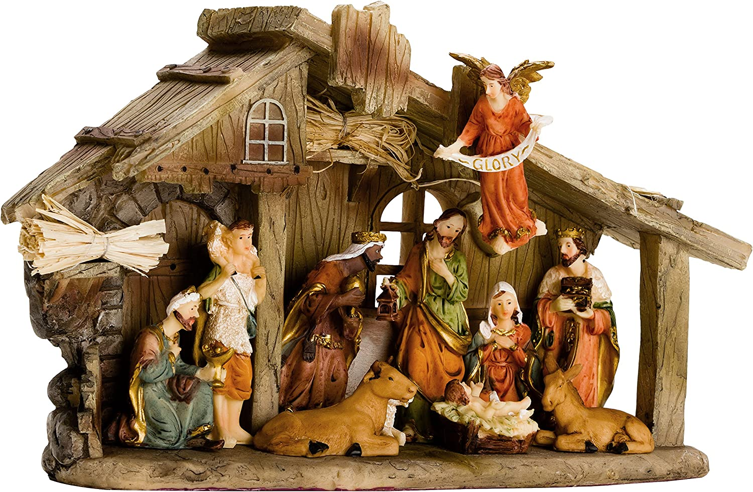 Brubaker Traditional Nativity Set Stable With 11 Resin Figurines Designed In Germany Amazon Co Uk Kitchen Home