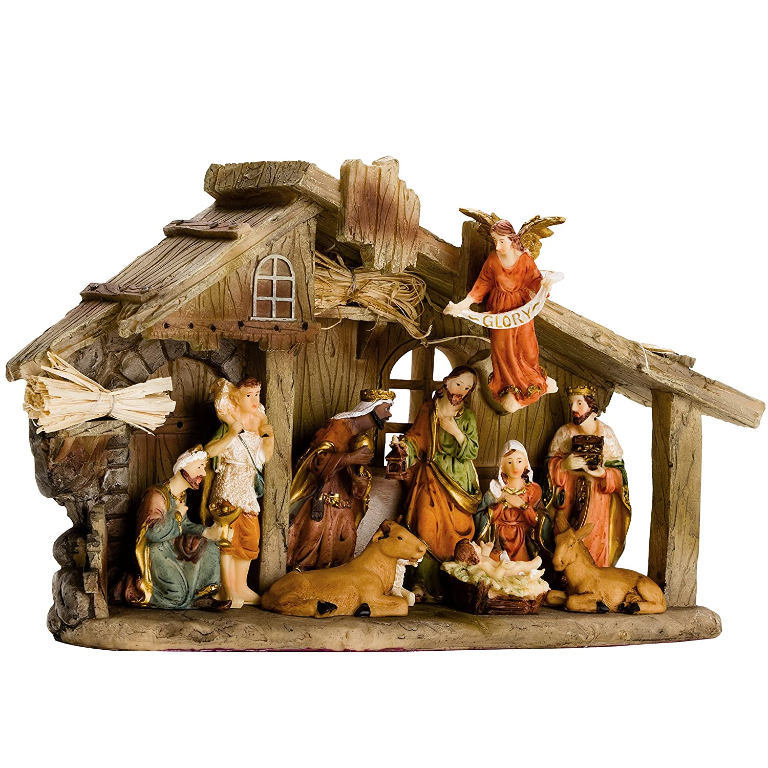 BRUBAKER Traditional Nativity Set - Stable with 11 Resin Figurines Designed in Germany