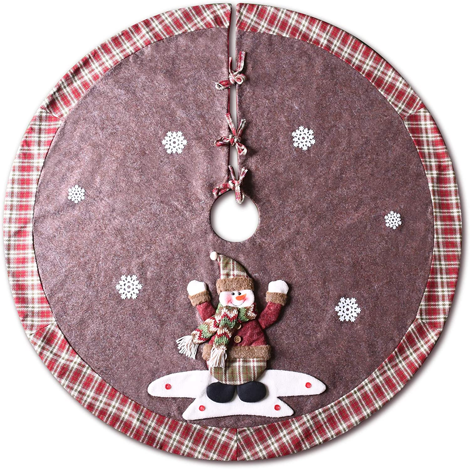 Amazon Com Yuqi Christmas Tree Skirt 48 Inch Plaid Edge Linen Burlap Tree Skirt Mat With 3d Snowman For Indoor Outdoor Christmas Decorations Home And Holiday Party Home Kitchen