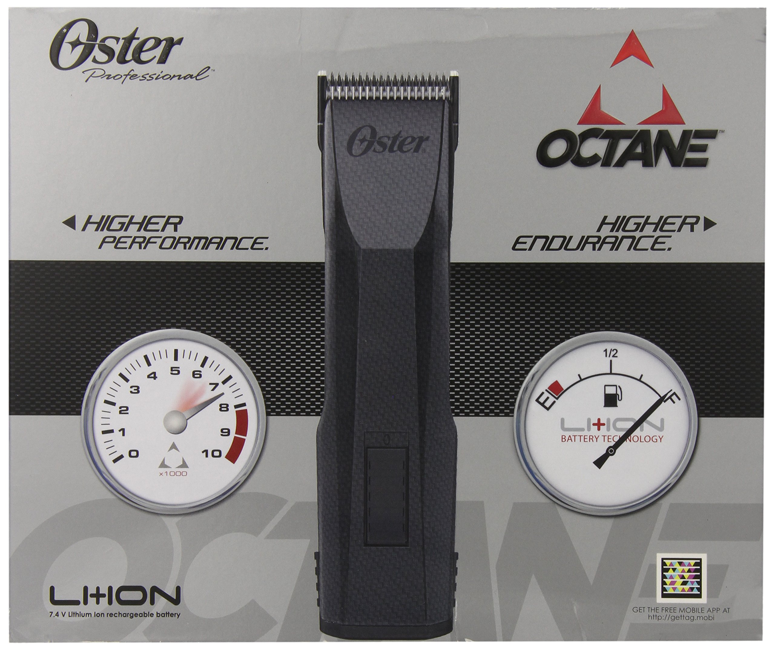 Oster Professional 76550-00 Octane Cordless Clipper, Gray, 1 Count