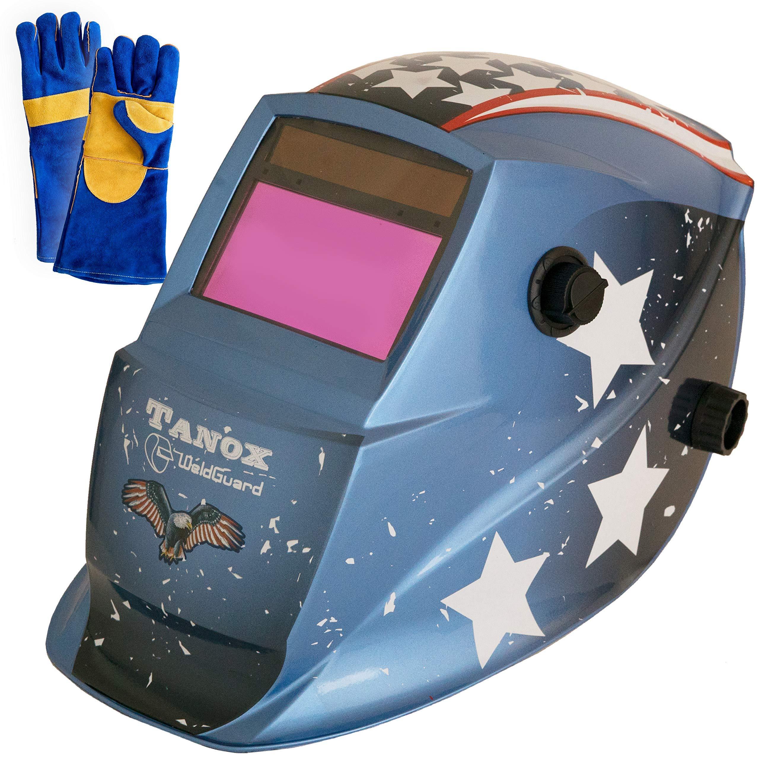 Tanox Auto Darkening Solar Powered Welding Helmet ADF-206S(USA Power): Shade Lens, Tig Mig MMA, Adjustable Range 4/9-13, Grinding 0000, Plus 16 Inch Kevlar Fire Retardant Welding Gloves