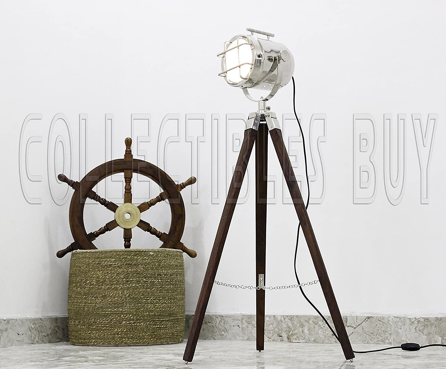 Industrial Style Vintage Movie Spot Light Floor Lamp Silver Finish Wiring Old Brown Tripod