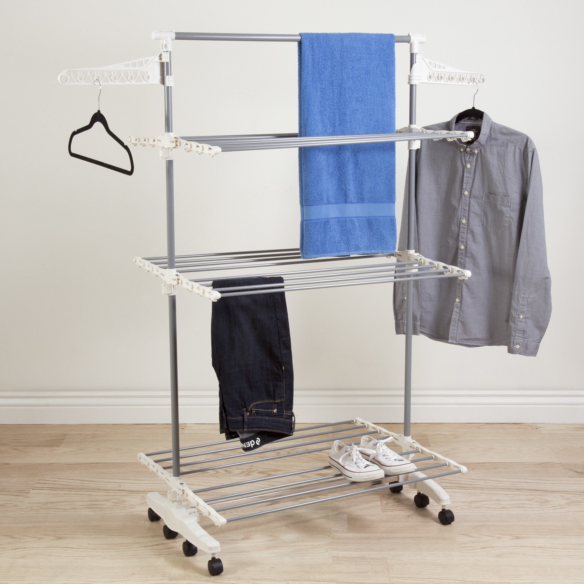 3 Tier Rolling Drying Rack Made w/ Stainless Steel and Plastic in White and Gray Finish 60'' H x 58.5'' W x 27'' D in.