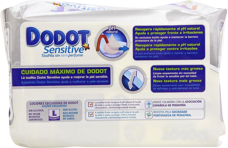 Dodot - Toallitas para piel sensible, sin perfume - 2 paquetes 108 toallitas - Pack de 6 (Total 648 toallitas): Amazon.es: Salud y cuidado personal