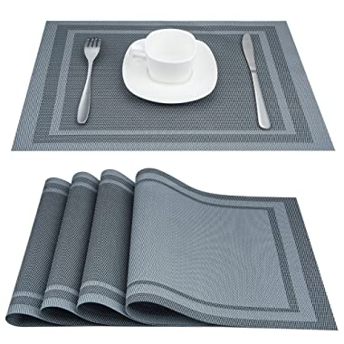 Artand Placemats, Heat-Resistant Placemats Stain Resistant Anti-Skid Washable PVC Table Mats Woven Vinyl Placemats, Set of 4 (Silver Gray)