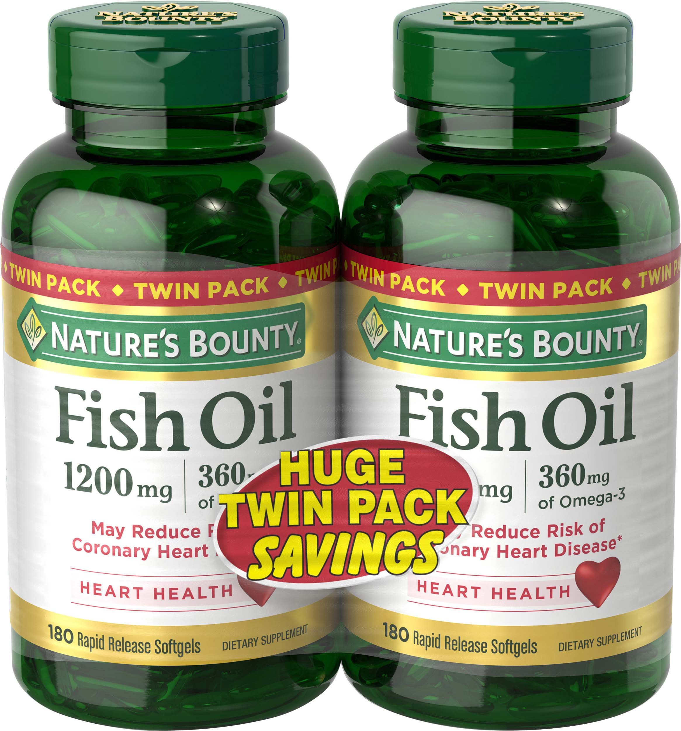 Nature's Bounty Fish Oil 1200 mg Twin Packs, 180-Count per bottle (360 Total Count) Rapid Release Liquid Softgels by Nature's Bounty