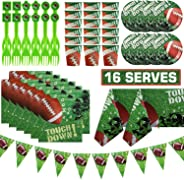 83 Pieces Football Touchdown Party Supplies Set,Super Bowl Sunday Tableware Accessory Decorations,Sports Themed Pack for NFL