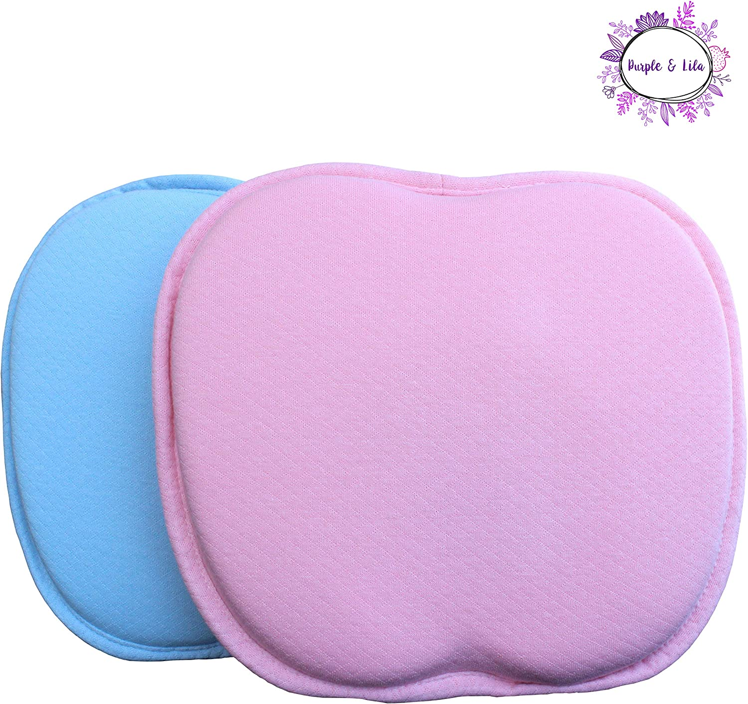 Memory Foam Baby Pillow with two Removable 100/% Cotton Covers Prevent Flat Head/ /Purple y lila Memory Foam Baby Pillow Blue Memory Foam Head Pillow Babies rosa Rosa /Ergonomic Design/