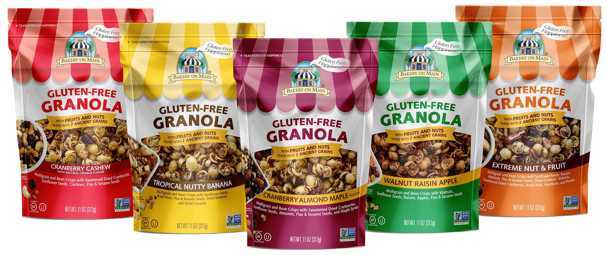 Bakery On Main Gluten-Free, Non GMO Granola, Variety Pack, 11 Ounce, 6 Count by Bakery On Main