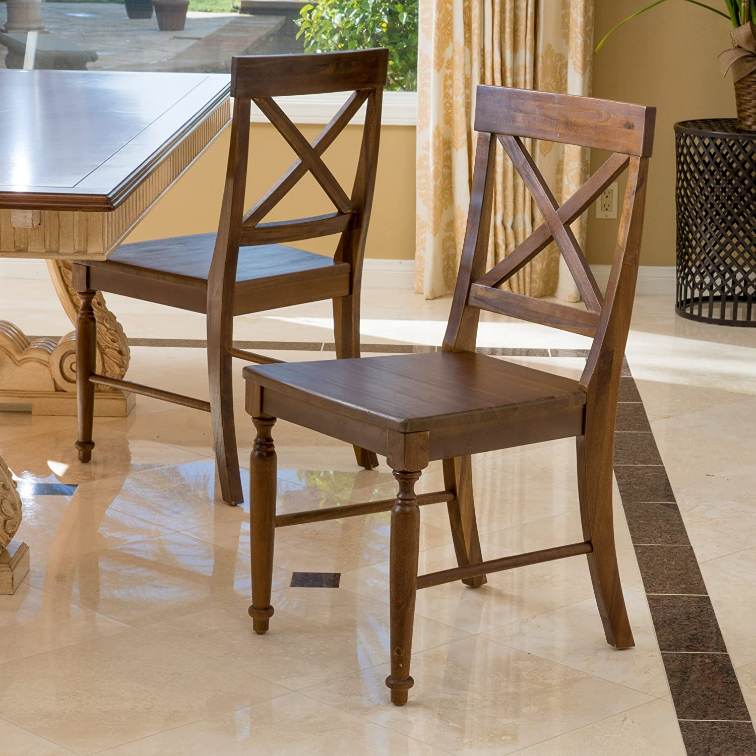 Christopher Knight Home 296564 Rovie Dark Oak Acacia Wood Dining Chairs