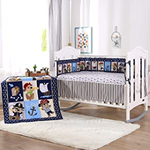 Wowelife Crib Bedding Sets for Boys Blue Pirates Baby Crib Sets 7 Piece for Boys and Girls