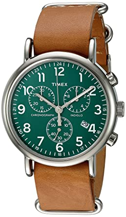 52d39e3c6 Timex Unisex TWC066500 Weekender Chrono Green/Tan Double-Layered Leather  Slip-Thru Strap