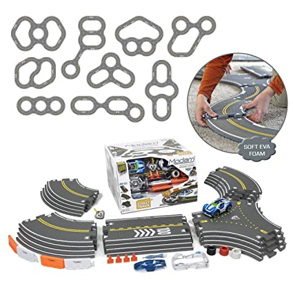 Modarri Delux Street Trackset | Race Car Track Building System | Build a Car Included Soft