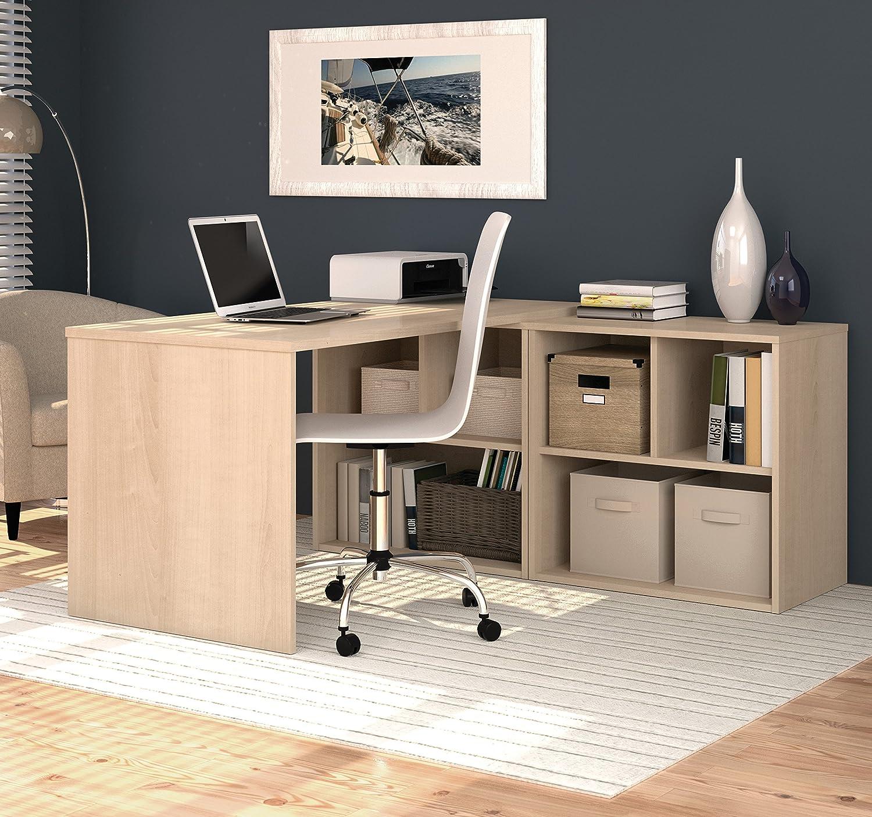 Amazon.com: BESTAR 150869 38 I3 L Shaped Desk, Northern Maple: Kitchen U0026  Dining
