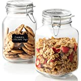 Bormioli Rocco Glass Fido Jars - 67 ¾ Ounce (2 L) Hermetic Sealed Hinged Airtight Lid for Fermenting, Pantry, Kitchen Storage