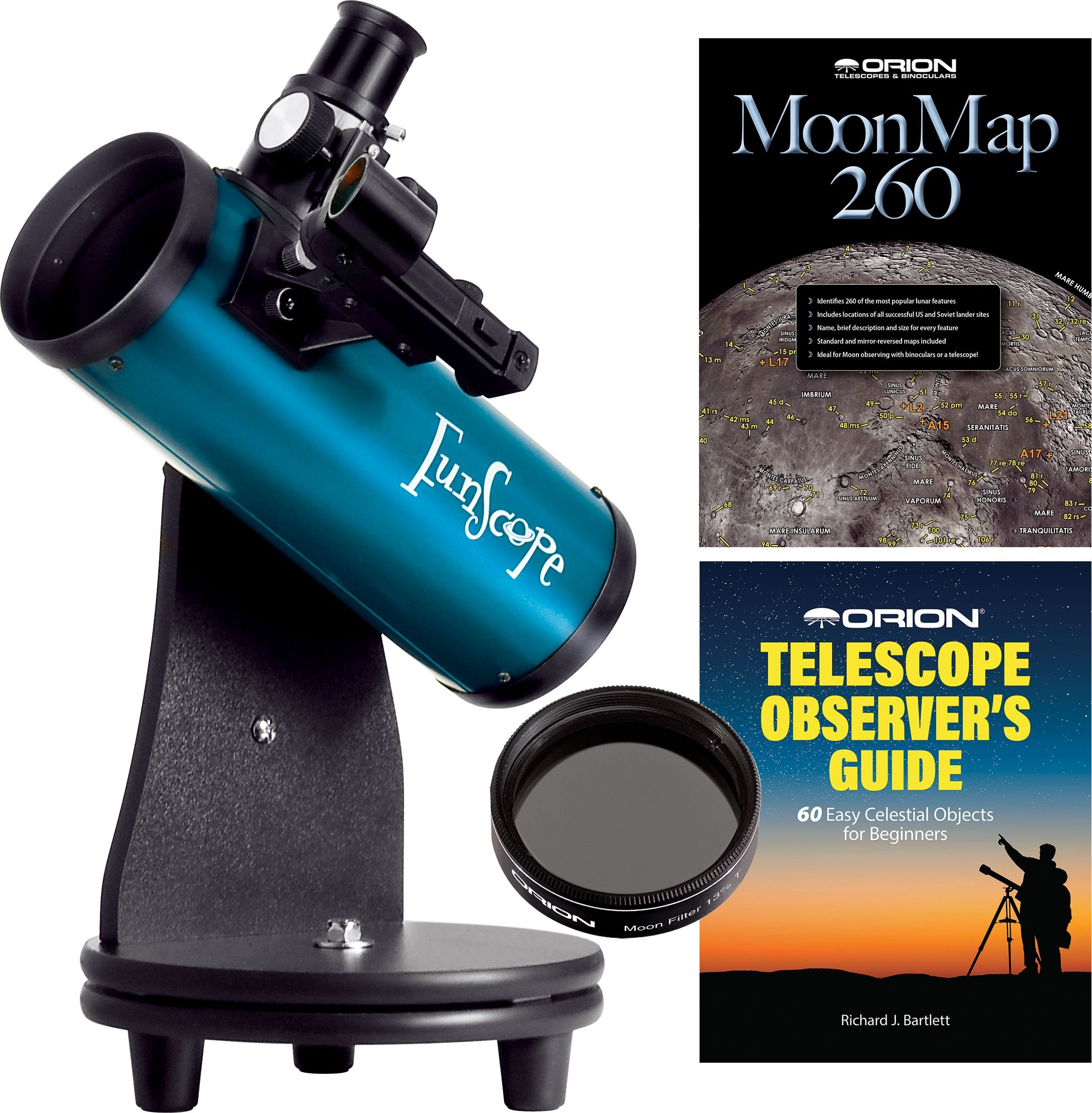FunScope 76mm Tabletop Reflector Telescope Moon Kit by Orion