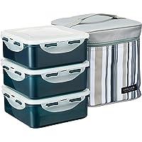 Lock & Lock Classic Square Lunch Box Set with Grey Stripe Bag, Grey, 3 Piece Set