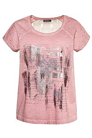 7ad26560441 Ulla Popken Femme Grandes Tailles T-Shirt col Rond imprimé Devant en Coton  Mauve 44