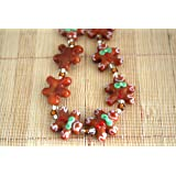 christmas cute gingerbread man lampwork glass beadspack of 12 beads