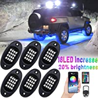 YISSDA RGB LED Rock Lights, 96LEDs 【Brightness Upgraded】 Neon Underglow Lighting Kit, Music Timing Mode, IP68 Waterproof…