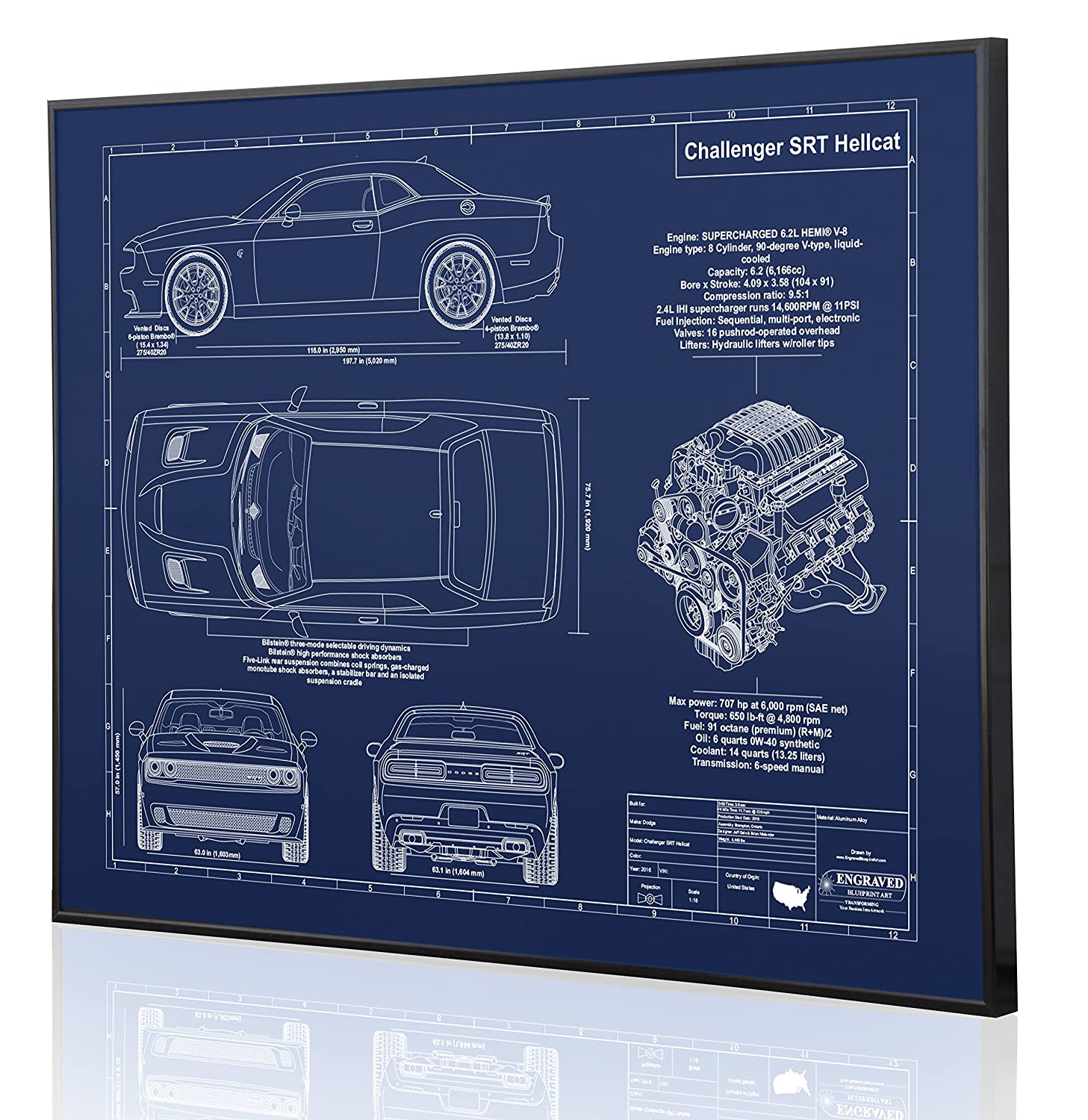 Amazon.com: Dodge Challenger SRT Hellcat Blueprint Artwork-Laser Marked &  Personalized-The Perfect Dodge Gifts: Handmade